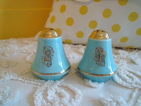 Vintage Aqua and Gold Fancy Petite Salt and Pepper Shaker Set Cork Stopper Estate Sale