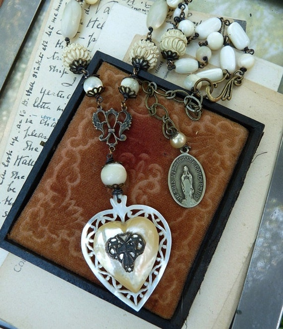 RESERVED:  Sacred Heart Virgin Mary Mother of Pearl Rosary Necklace, by RusticGypsyCreations