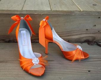 Orange Wedding Shoes - Bridal Shoes - Wedding Shoe Orange - Orange High Heels -Orange Heels -Orange Wedding -Orange Bow Wedding Shoe Wedding