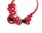Red Crochet Statement Necklace Freeform Graphic Waves