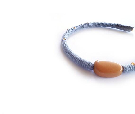 Crochet Hoop Choker Necklace Paloma Gray Celosia Orange