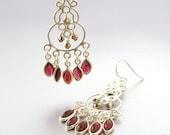 SALE 40% OFF - Sterling Silver Chandelier Earrings with Garnets & Swarovski Crystals