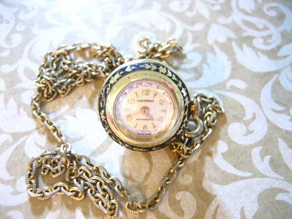 Vintage Black Enamel Half Round Watch Pendant Necklace