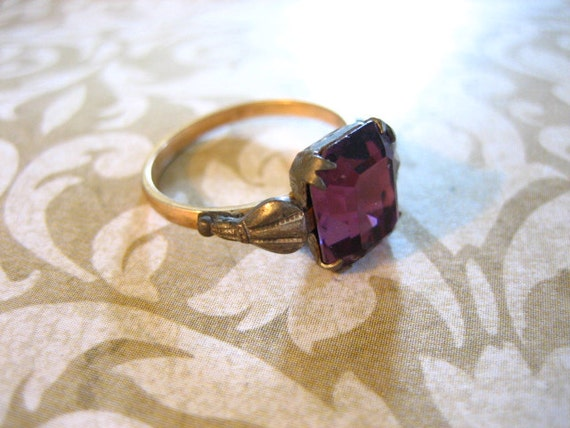 Vintage Sterling Silver  and GF February Birthstone Ring