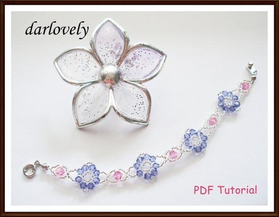 Swarovski Rose Purple Flower Bracelet - PDF Tutorial
