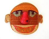 Vintage Weave Ethnic Woven Basket Folk Face Man Mask Wall Hanging