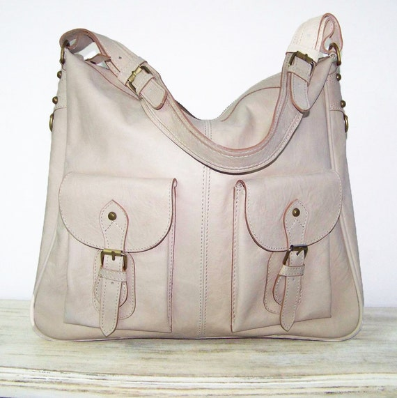 Leather handbag shoulder cross-body bag tote Eden in beige/cream SALE