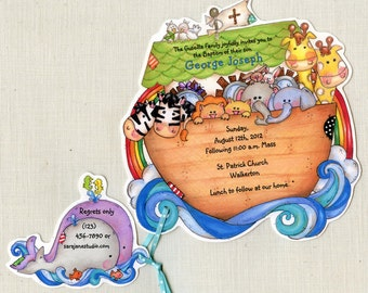 Personalized Invitations - Handcut - Baptism Invitations - Christening Invitations - Noahs Ark Invitations