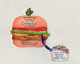 10  Hamburger Summer Cookout Birthday Party Invitations -  Handcut & Personalized