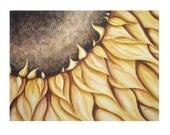 Sunflower Watercolor Print Floral Painting Garden ART Summer Yellow Brown Sun Flower