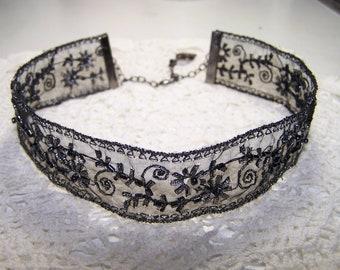 Black & Gunmetal Beaded Ribbon Choker Formal Goth Steampunk Sparkle Victorian Vintage Style