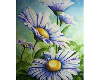 Daisy Watercolor Print 9 x 12 - Flower Garden White Daisies Floral Whimsical Art Painting Reinecke