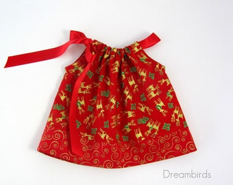 Infant Red and Gold Pillowcase Dress - Metallic Gold Reindeer on Red -  baby Girls Red Dress & Bloomers - Size Nb, 3m, 6m, 9m, 12m or 18m