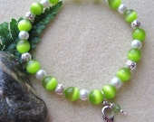 """Lymphoma Awareness Lime Green Cats Eye Pearl Beaded Bracelet  """"Pray for a Cure"""""""