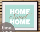 Home Sweet Home - Art Print (Featured in Duck Egg and Latte Brown) (Buy 3 and get One Free)