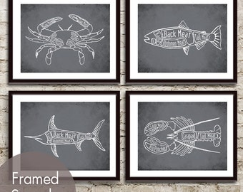 Crab, Salmon, Swordfish and Lobster Butcher Diagram Seafood Series - Set of 4 Art Prints (Featured in Charcoal)