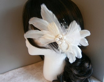 Ivory, Weddings, hair ,accessory, Feather, Fascinator, Feathered, veil, Bridal, Accessories, white, wedding, sash, brooch - IVORY BRIDE