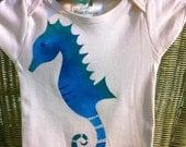 Organic Baby onesie or Childrens tshirt, handpainted Seahorse