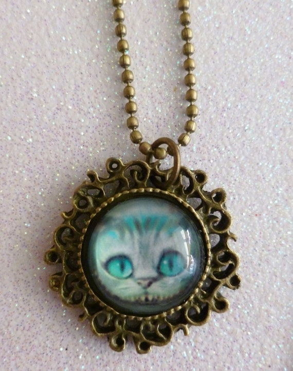 SALE Alice in Wonderland Cheshire Cat Necklace