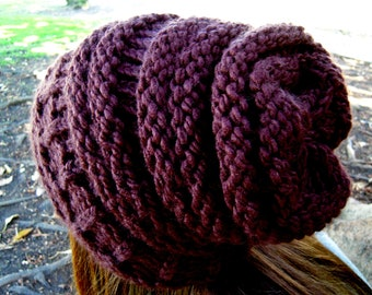 Knit slouchy hat brown women's accessories Ready to Ship