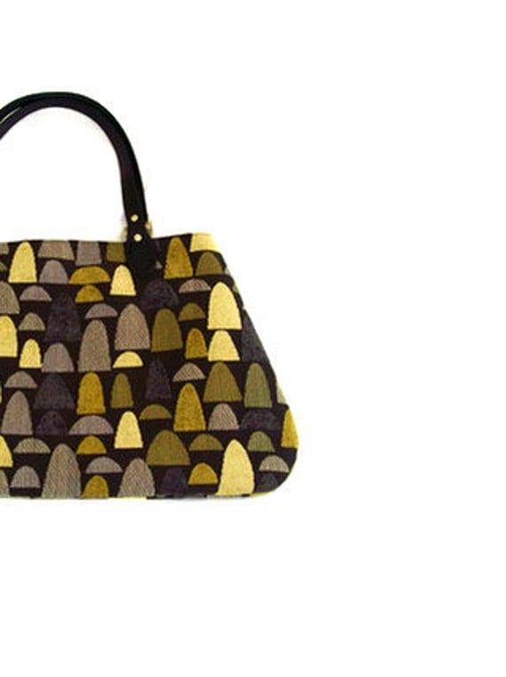 Black Olive Chartreuse Grey Mushroom Cap Fabric Handbag Purse