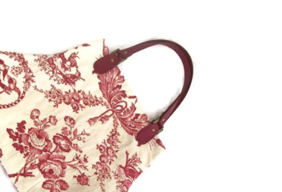 French Country Red Pink Toile Handbag Purse Flowers Animals