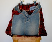 Denim & Red Plaid Purse, All Recycled denim bag, Mothers Day, Upcycled Handle,