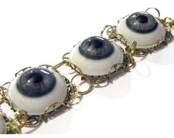 Steampunk Blue Human Glass Eye Eyeball Gold Gothic Bracelet