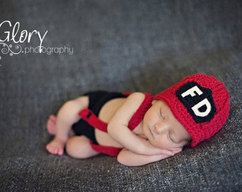 Baby Boy Firemans Hat with  Diaper cover and  suspenders, Newborn Photo prop