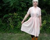 Plus Size Holiday Dress // Vintage Party Dress // Full Skirt Pastel Pink Rockabilly Day Dress // Plus Size XL // Alternative Wedding Dress