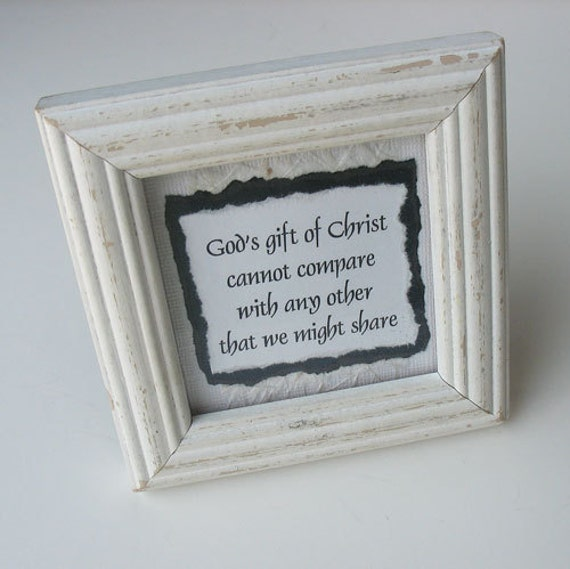 CLEARANCE Framed Paper Art: Handmade Inspirational Phrase /  White Distressed Painted Frame - Cannot Compare