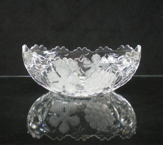 Mikasa Germany Leaded Crystal Glass Console Bowl By Oldetymestore