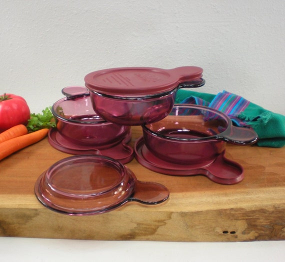 3 Corning Visions Ware Cranberry Heat N Eat Grab It Glass