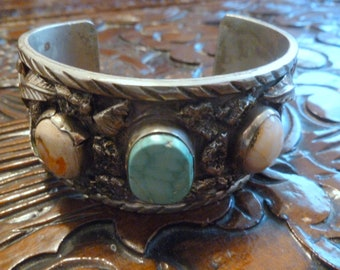 Sale-Antique-Sterling Silver-Wide Cuff-Adjustable Bracelet w/Natural Stones