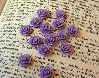 Purple Resin Flower Cabochon 10mm