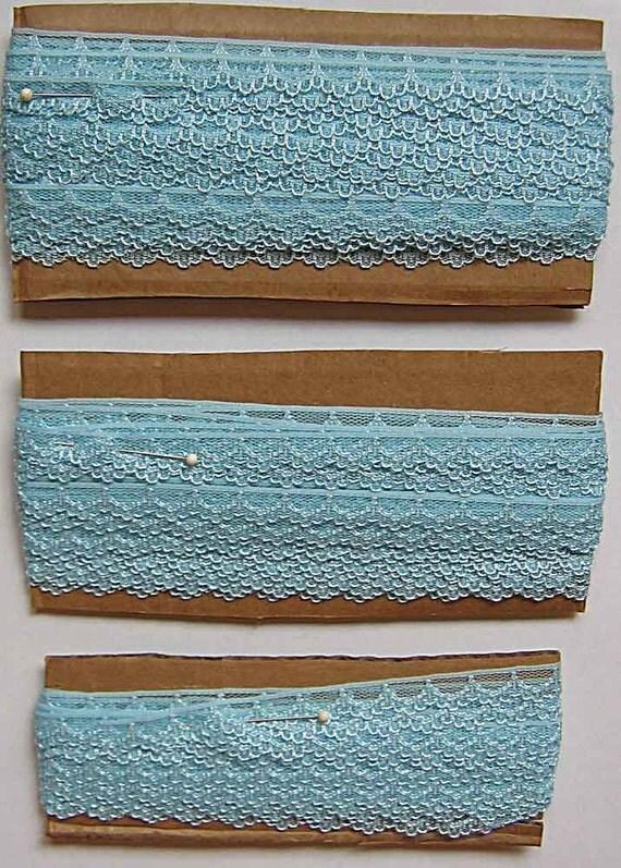 "1/2"" Aqua Blue Scallop Edge Lace - Remnant Lot - 41 Yards Total"