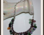 Glass Beads on Silver Plated Chain