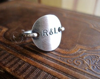 Couple, boyfriend ring sterling silver Personalized Custom Letter Monogram initial stamped Engraved Round Circle Disk Charm Ring Jewelry