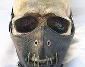 Black Hannibal Lecter Faux Pleather Restraining FACE MASK with Metal Mouth Pieces