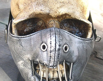 Silver Pewter Distressed-Look Hannibal Lecter Steampunk Dust Riding MASK - A Burning Man Must Have
