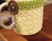 White and Green Crochet Mug Sweater/Coaster with Button