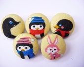 5 Kawaii winter penguins handmade fabric covered buttons  3/4 inches