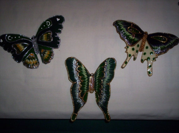 Green Butterflies made from recycled 2 liter drink bottles