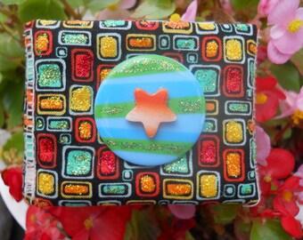 Colorful Geometric MOP Star Button Glitter Soft Fabric Cuff Bracelet OOAK