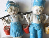 Dutch Boy and Girl Aqua Porcelain