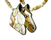 Vintage Lee Sands Large Laminated Inlay Inlaid Mother of Pearl Horse Head Necklace Genuine Stones