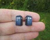 Doctor Who TARDIS police box post earrings