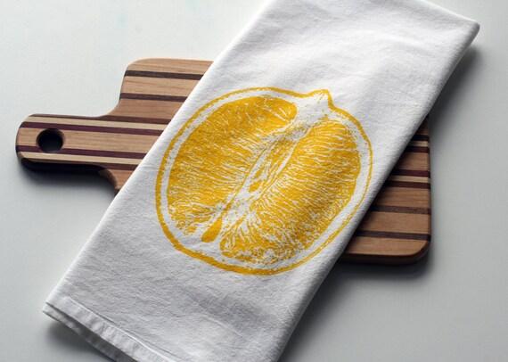 Lemon  Deluxe White Flour Sack Towel  - Hand Screen Printed - hostess gift - hand printed tea towel