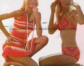Crochet Bikini AND Sun Dress PDF 302 Vintage Pattern from WonkyZebra
