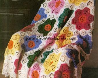 Vintage Crochet Blanket Pattern Grandmothers garden  Hexagon  Hexagonal Flower Afghan Blanket WZ262 PDFfrom WonkyZebra